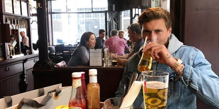 Victor Lindelof With His Pint