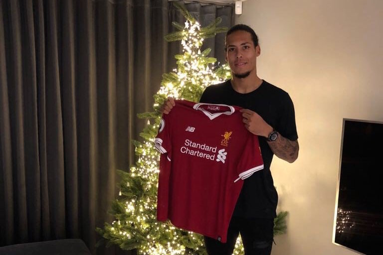 reputable site 0a8f6 ef1fd Photo: Virgil van Dijk poses with Liverpool shirt | Off The Post